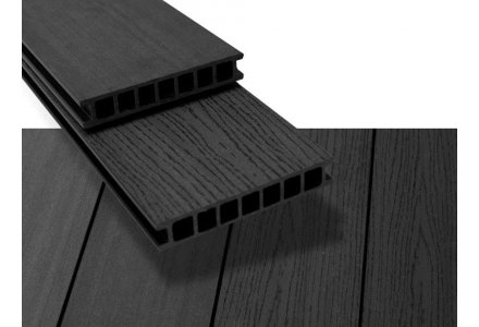 Vlonderplank composiet hol 28x162mm Graphite black, Duofuse