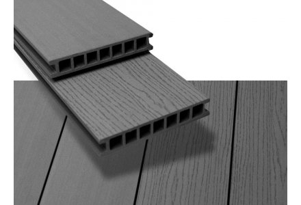 Vlonderplank composiet hol 28x162mm Stone grey, Duofuse