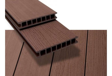 Vlonderplank composiet hol 28x162mm Tropical brown, Duofuse
